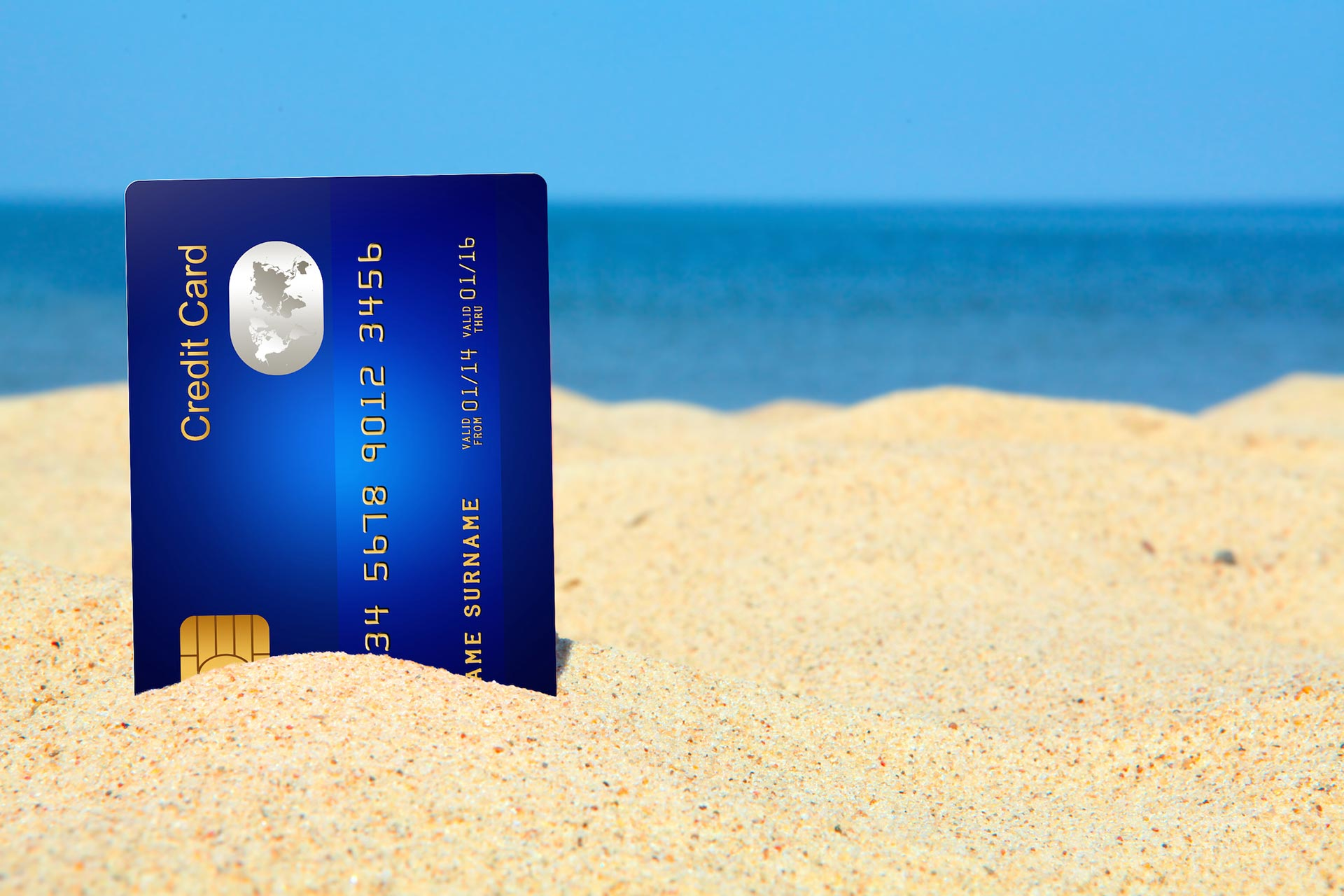 bank karta card beach