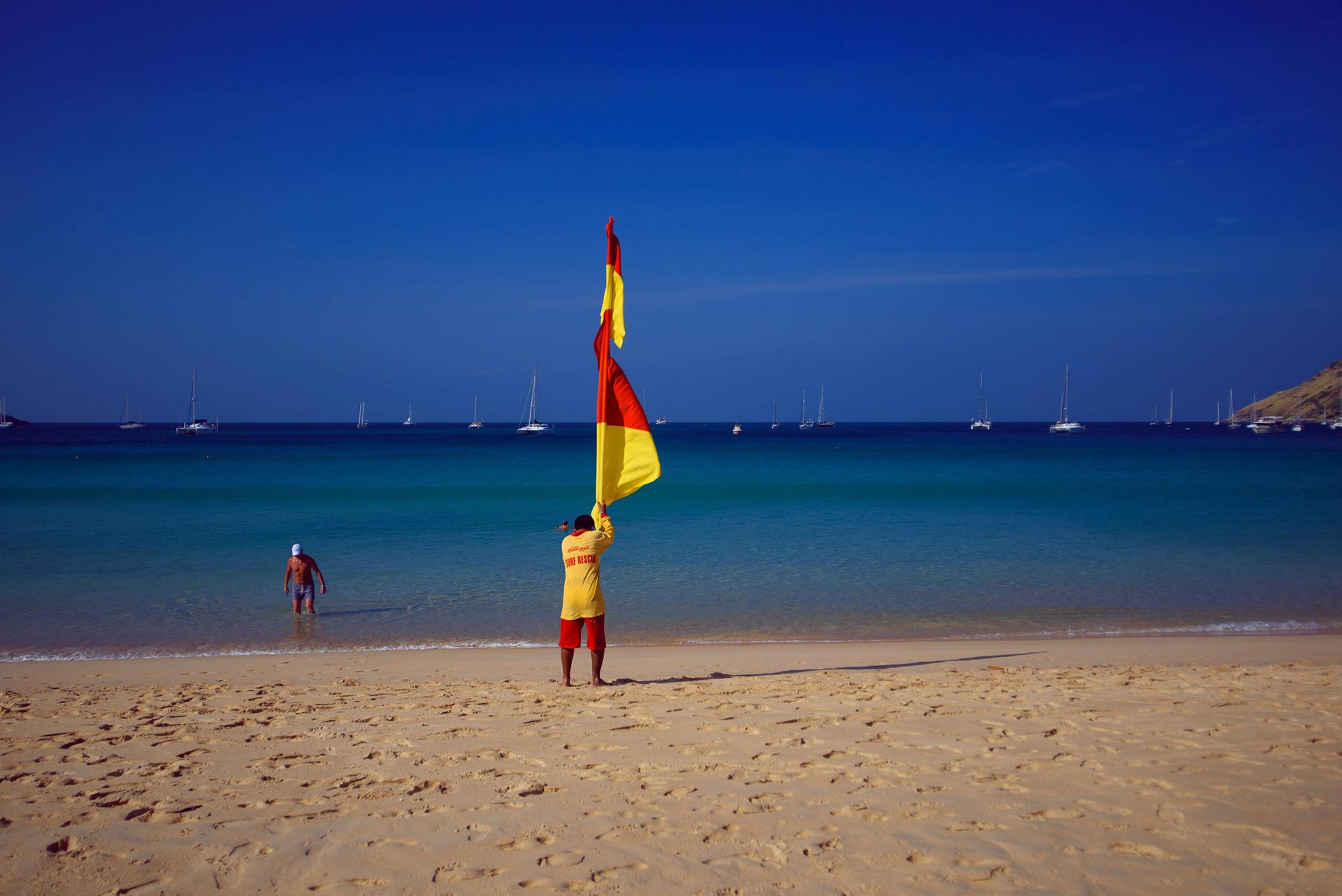 flag lifeguards beach safety sea