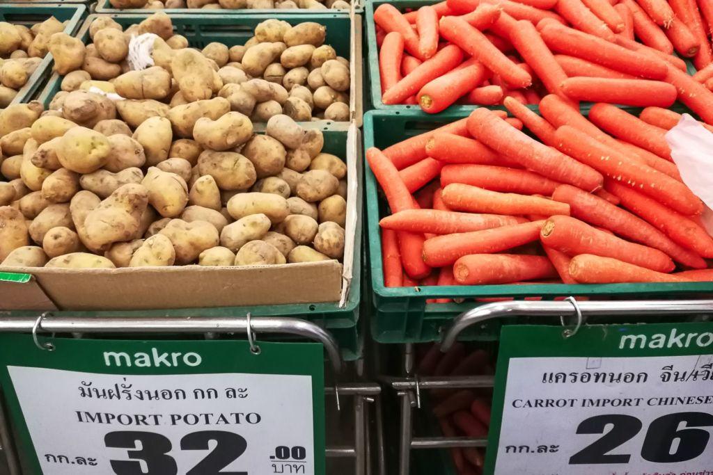 морковь, картофель, Food price Thailand, Tesko Lotus, Makro, Samui supermarket, цены на Самуи, цены на продукты в Таиланде, тайский супермаркет, обзор цен в Таиланде, обзор цена на Самуи, сколько стоит мясо в Таиланде, сколько стоят морепродукты в Таиланде, цены, Макро, Теско, Самуи, Тай,