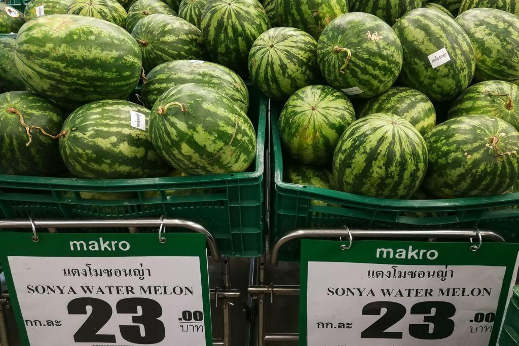 арбуз, Food price Thailand, Tesko Lotus, Makro, Samui supermarket, цены на Самуи, цены на продукты в Таиланде, тайский супермаркет, обзор цен в Таиланде, обзор цена на Самуи, сколько стоит мясо в Таиланде, сколько стоят морепродукты в Таиланде, цены, Макро, Теско, Самуи, Тай,