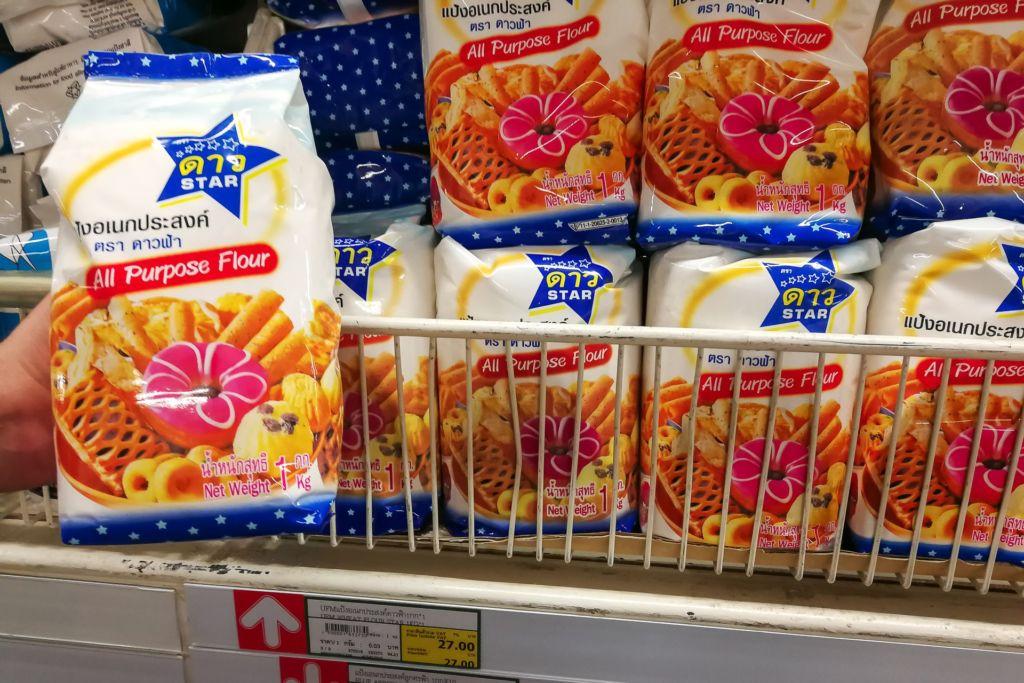 мука, Food price Thailand, Tesko Lotus, Makro, Samui supermarket, цены на Самуи, цены на продукты в Таиланде, тайский супермаркет, обзор цен в Таиланде, обзор цена на Самуи, сколько стоит мясо в Таиланде, сколько стоят морепродукты в Таиланде, цены, Макро, Теско, Самуи, Тай,