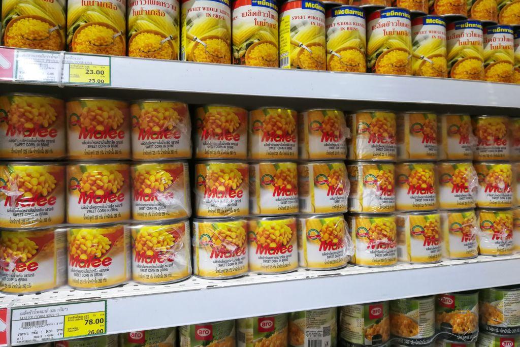консервы, кукуруза, Food price Thailand, Tesko Lotus, Makro, Samui supermarket, цены на Самуи, цены на продукты в Таиланде, тайский супермаркет, обзор цен в Таиланде, обзор цена на Самуи, сколько стоит мясо в Таиланде, сколько стоят морепродукты в Таиланде, цены, Макро, Теско, Самуи, Тай,