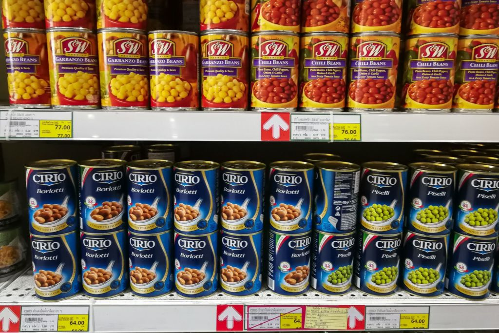 консервы, горошек, Food price Thailand, Tesko Lotus, Makro, Samui supermarket, цены на Самуи, цены на продукты в Таиланде, тайский супермаркет, обзор цен в Таиланде, обзор цена на Самуи, сколько стоит мясо в Таиланде, сколько стоят морепродукты в Таиланде, цены, Макро, Теско, Самуи, Тай,